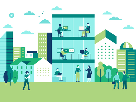Vector illustration in flat simple style with characters - city landscape and coworking center with people working at the computers and laptops - teamwork and cooperation concept