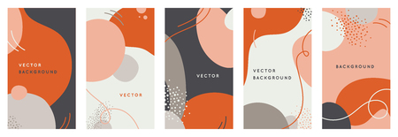 Vector set of abstract creative backgrounds in minimal trendy style with copy space for text - design templates for social media stories - simple, stylish and minimal designs for invitations, banners,