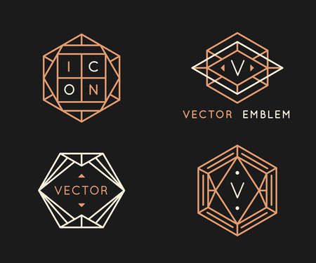 Vector design templates and monogram design elements in simple minimal style with copy space for text - geometrical abstract emblems and signs