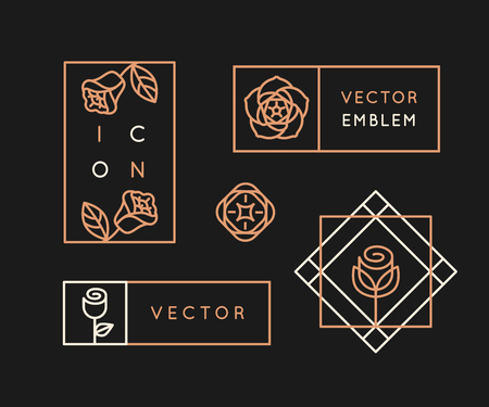 Vector  design templates and monogram design elements in simple minimal style with roses and copy space for text - geometrical abstract emblems and signs