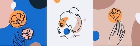 Vector set of design templates and illustrations in minimal linear style - minimalistic modern art - female portrait and flowers - abstract t-shirt print  - beauty and fashion concept Illustration