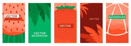 Vector set of social media stories design templates, backgrounds with copy space for text - summer backgrounds for banners, greeting cards, posters and advertising - bright banners with fruits and leaves Foto de archivo - 125177584
