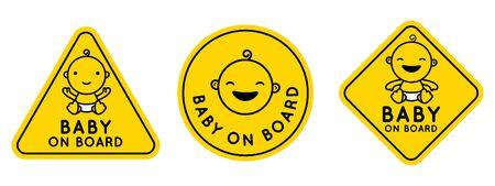 Set vettoriale di segni ed emblemi - adesivi bambino a bordo con personaggio dei cartoni animati sorridente bambino