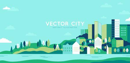 Vektorillustration im einfachen minimalen geometrischen flachen Stil - Stadtlandschaft mit Gebäuden, Hügeln und Bäumen - abstraktes horizontales Banner und Hintergrund mit Kopienraum für Text - Kopfbilder für Websites, Cover
