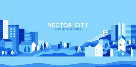 Illustration vectorielle dans un style plat géométrique minimal simple - paysage urbain avec bâtiments, collines et arbres - bannière horizontale abstraite et arrière-plan avec espace de copie pour le texte - images d'en-tête pour sites Web, couvertures