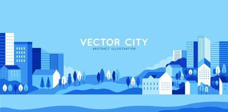 Vector illustration in simple minimal geometric flat style - city landscape with buildings, hills and trees - abstract horizontal banner and background with copy space for text - header images for websites, covers Stock Vector - 128168180