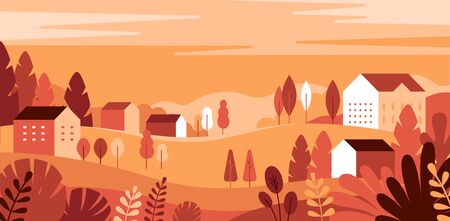 Vector illustration in simple minimal geometric flat style - autumn city landscape with buildings, hills and trees - abstract horizontal banner and background with copy space for text - header images for websites, covers