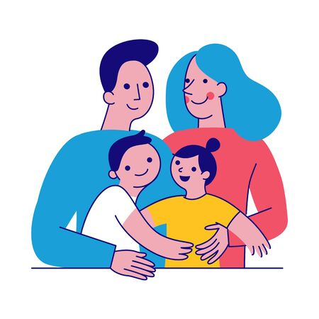 Happy family two parents with two kids Illustration