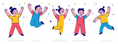 Vector illustration with simple flat characters - happy smiling kids playing together and jumping - children party invitation or greeting card design template   イラスト・ベクター素材