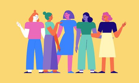 Vector illustration in flat linear style - women teamwork characters - girl power concept and women empowerment - happy female friends