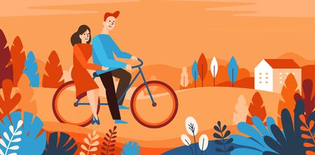 Vector cartoon illustration in simple style with characters - happy couple riding bicycle in the park - sports and leisure outdoor activity - autumn greeting card Ilustração