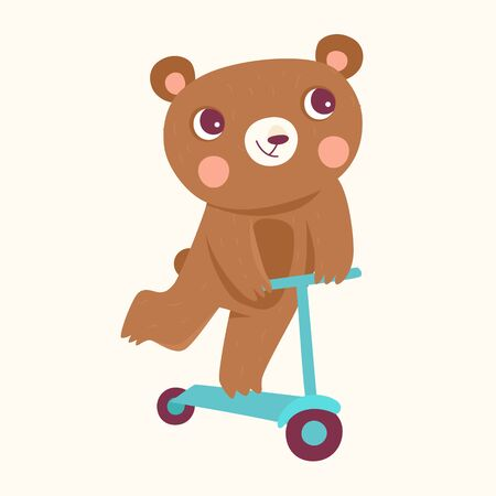 Vector cartoon illustration in simple childish style with bear riding scooter - nursery room print template, design element for greeting card or stationery for kids and children - happy cartoon character Ilustração