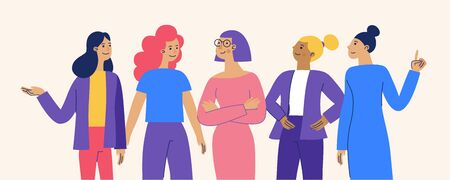 Vector illustration with female characters  - feminist movement and girl power concept  - stronger together happy diverse women - international womens day Ilustração