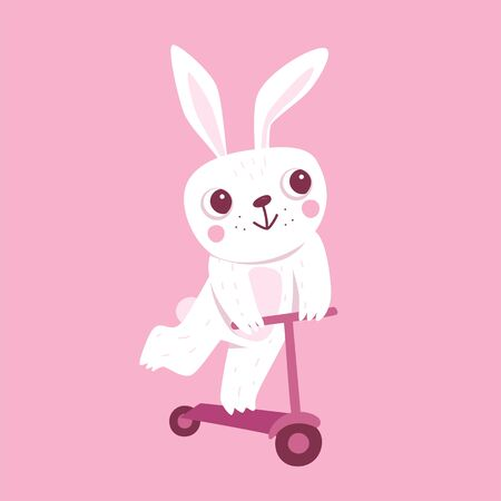 Vector cartoon illustration in simple childish style with rabbit riding scooter - nursery room print template, design element for greeting card or stationery for kids and children - happy cartoon character
