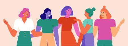 Illustrazione vettoriale con personaggi femminili - movimento femminista e concetto di potere della ragazza - donne diverse e felici insieme più forti - giornata internazionale della donna Vettoriali
