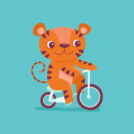 Vector cartoon illustration in simple childish style with tiger riding bicycle - nursery room print template, design element for greeting card or stationery for kids and children - happy cartoon character Ilustração