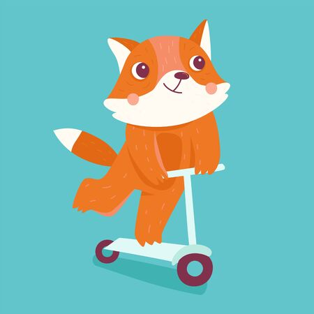 Vector cartoon illustration in simple childish style with fox riding scooter - nursery room print template, design element for greeting card or stationery for kids and children - happy cartoon character