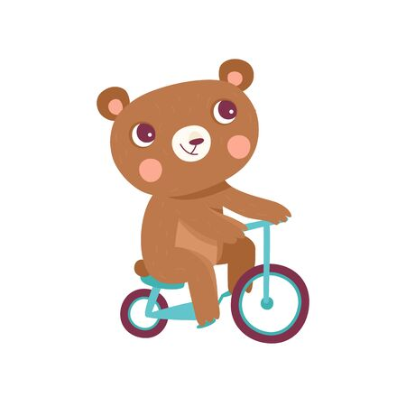 Vector cartoon illustration in simple childish style with bear riding bicycle - nursery room print template, design element for greeting card or stationery for kids and children - happy cartoon character
