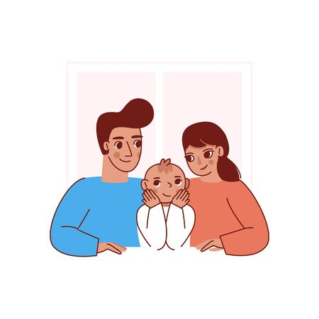 Vector illustration in trendy flat linear style - happy family and parenthood concept - happy mother and father with a baby - cartoon characters for infographics, banners, cover and hero images Ilustração