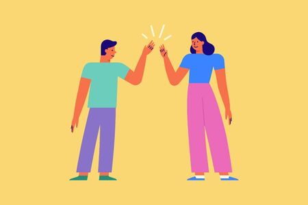 Vector illustration in flat linear style - high five gesture - two friends give five to each other - great work concept Vectores