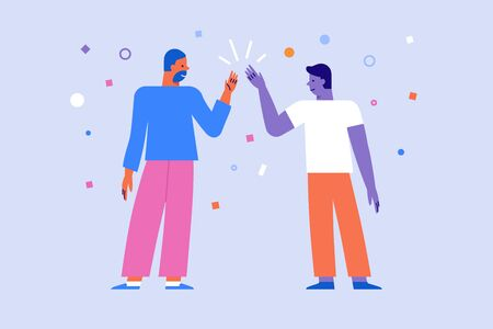 Vector illustration in flat linear style - high five gesture - two friends give five to each other - great work concept 版權商用圖片 - 128168199