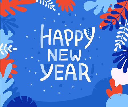 Happy new year - greeting card with hand-lettering text in cartoon style  - vector illustration for greeting card, banner, advertising, poster, invitation Stock Vector - 127685987
