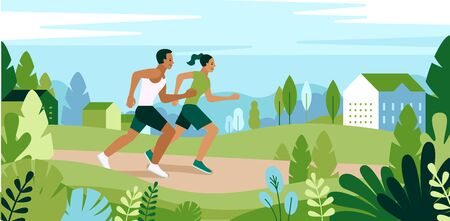 Vector illustration  in simple flat style and characters - man and woman running in the park - sport poster and banner - healthy life style concept