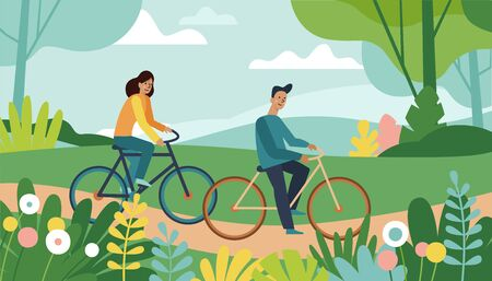 Vector cartoon illustration in simple style with characters - man and woman riding bicycles in the park - sports and leisure outdoor activity  Ilustração