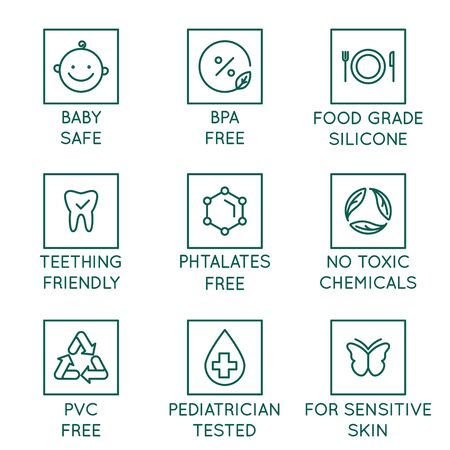 Vector set of design elements,  design templates, icons and badges for natural and organic cosmetics in trendy linear style - safe for babies products - bpa free, pediatrician tested, food grade silicone