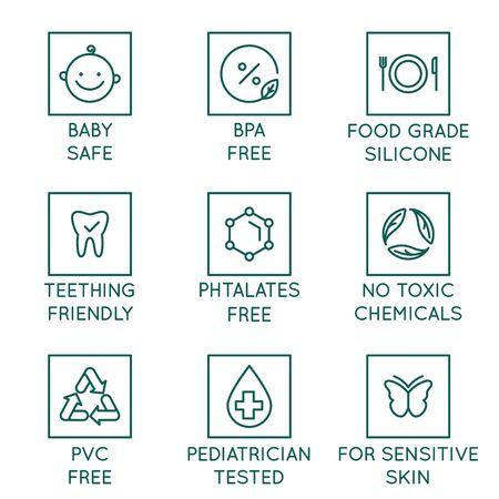 Vektorset von Designelementen, Designvorlagen, Symbolen und Abzeichen für Natur- und Biokosmetik im trendigen linearen Stil - sicher für Babyprodukte - bpa-frei, kinderarztgetestet, lebensmittelechtes Silikon