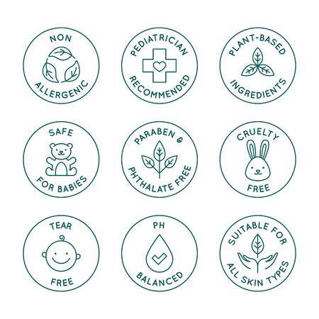 Vector set of design elements,  design templates, icons and badges for natural and organic cosmetics and skincare for babies in trendy linear style - safe for newborns products -  pediatrician recommended, cruelty and tear free