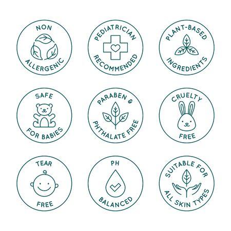 Vektorset von Designelementen, Designvorlagen, Symbolen und Abzeichen für Natur- und Biokosmetik und Hautpflege für Babys im trendigen linearen Stil - sicher für Neugeborenenprodukte - Kinderarzt empfohlen, Grausamkeit und Tränenfrei