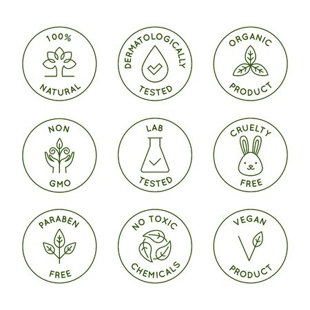 Vector conjunto de elementos de diseño, plantillas de diseño, iconos e insignias para envases de cosméticos naturales y orgánicos en un moderno estilo lineal: 100% natural, dermatológicamente y probado en laboratorio, vegano y libre de crueldad Ilustración de vector