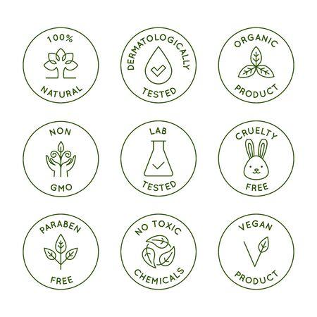 Vectorset van ontwerpelementen, ontwerpsjablonen, pictogrammen en badges voor verpakkingen van natuurlijke en biologische cosmetica in trendy lineaire stijl - 100% natuurlijk, dermatologisch en in het laboratorium getest, veganistisch en dierproefvrij Vector Illustratie