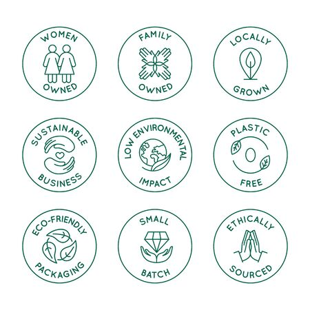 Vector set of design elements, design templates, icons and badges for natural and organic cosmetics and sustainably made products in trendy linear style - family or women owned business with low envir