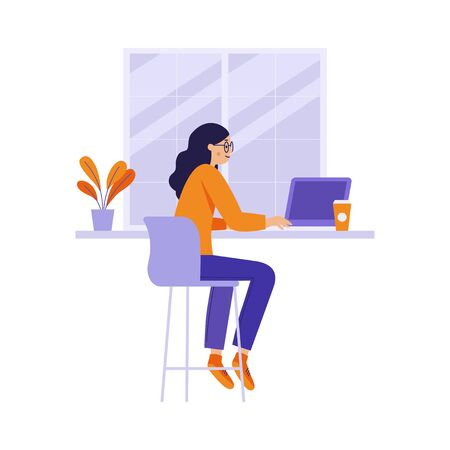 Vector illustration in flat linear style - girl sitting at the table in the coffee shop with laptop Ilustração