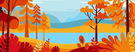 Vektorillustration in einfachem, minimal flachem Stil - Herbstlandschaft mit Hügeln und Bäumen - abstraktes horizontales Banner und Hintergrund mit Kopienraum für Text - Headerbilder für Websites, Cover