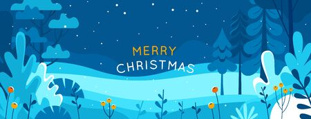 Vector illustration in trendy flat simple style - Merry  Christmas and Happy New Year greeting card and banner - winter landscape Ilustração