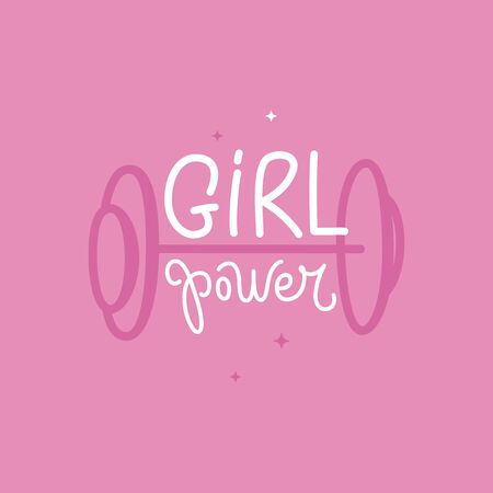 Vector illustration in simple style with hand-lettering phrase girl power - stylish print for poster or t-shirt - feminism quote and woman motivational slogan