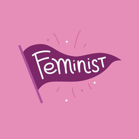 Vector illustration in simple style with hand-lettering phrase feminist- stylish print for poster or t-shirt - feminism quote and woman motivational slogan