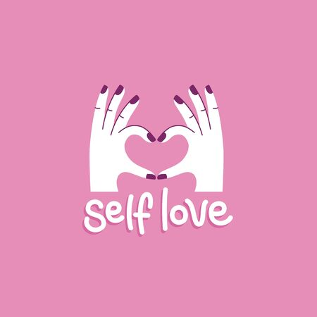Vector illustration in simple style with hand-lettering phrase self love -  stylish print for poster or t-shirt - feminism quote and woman motivational slogan