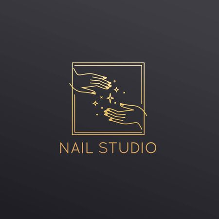 Vector  design template in linear style - nail studio emblem - beauty spa
