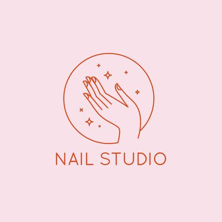 Vector  design template in linear style - nail studio emblem - beauty spa, hand with stars Stock Illustratie