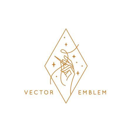 Vektor-Design-Vorlage im linearen Stil - handgemachte Stickerei und Mode - Hand, die eine Nadel mit Faden hält