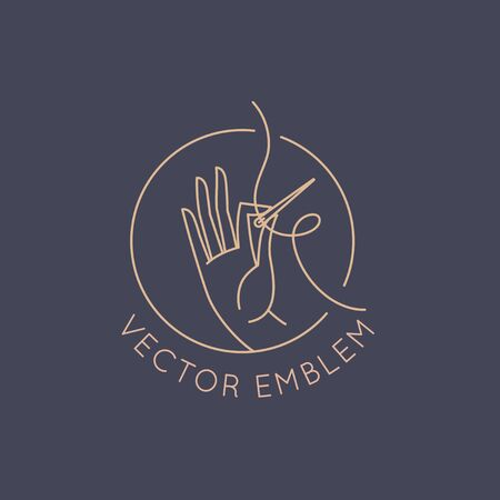 Vector  design template in linear style - handmade embroidery and fashion - hand holding a needle with thread