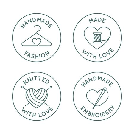 Vector set of  design templates in simple linear style - handmade fashion and crafts badges - emblems handmade embroidery, made and knitted with love