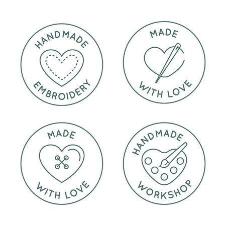 Vector set of  design templates in simple linear style - handmade fashion and crafts badges - emblems handmade embroidery, made with love, handmade workshop Ilustração