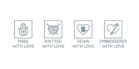 Vector set of  design templates in simple linear style - handmade badges - knitted, sewn, embroidered with love, signs for hand crafted packaging products Ilustração