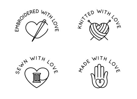 Vector set of design templates in simple linear style - handmade badges - knitted, sewn, embroidered with love, signs for hand crafted packaging products Иллюстрация