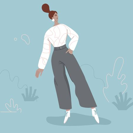 Fashion vector illustration in simple flat style - stylish girl - female character
